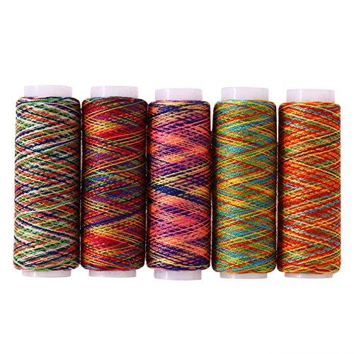 Demiawaking 5 stücke Regenbogen Farbe Nähgarn Hand Quilten Stickerei Nähgarn für Heim DIY Nähen