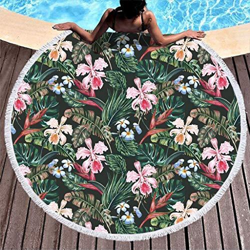 LAOAYI - Toalla de playa de flores suaves y duraderas, redonda, alta solidez de color, poliéster, blanco, 150 cm