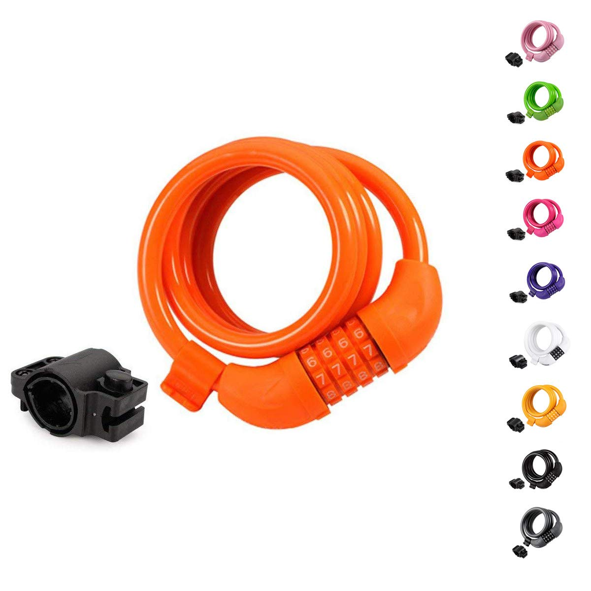 4-Feet Bike Cable Basic Self Coiling Resettable Combination Cable Bike Locks with Complimentary Mounting Bracket, Bike Lock Cable 4 Feet, 5 Feet, 6 Feet