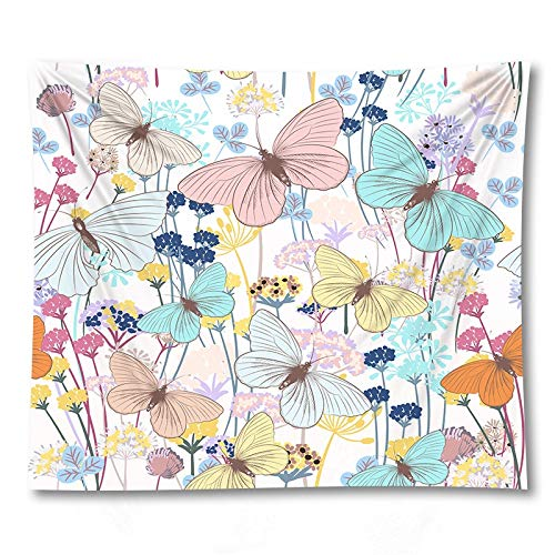 PPOU Blume Schmetterling Wandteppich Wandbehang böhmische Tagesdecke Schlafsaal Dekoration Wandteppich Hintergr& Stoff A14 180x200cm