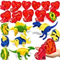 "AMENON 28 Pack Kids Valentines Party Favors 3.1"" Giant Hearts Filled Transform Dinosaur Toys Valentines Cards for Boys Girls Valentines Gifts Classroom Exchange Party Dino Toy Valentines Game Prizes"