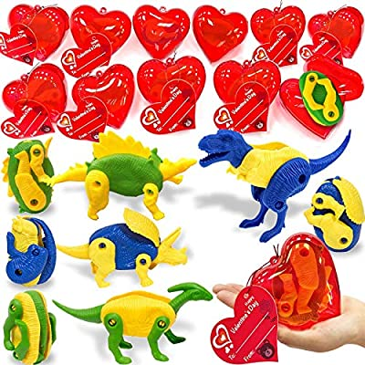 """AMENON 28 Pack Kids Valentines Party Favors 3.1"""" Giant Hearts Filled Transform Dinosaur Toys Valentines Cards for Boys Girls Valentines Gifts Classroom Exchange Party Dino Toy Valentines Game Prizes"""