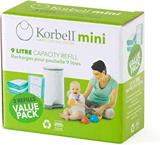 Korbell 9L Nappy Bin Disposable Liners, Pack of 3