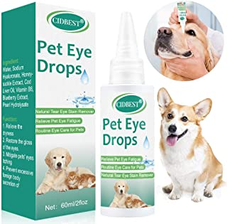 CIDBEST Cat &Dog Eye Drops, Pet Eye Wash, Pet Eye Care, Relieve Pet Eye Fatigue, Pain-Free Solution for Allergies, Pink Eye, Burning, Itching & Daily Maintenance