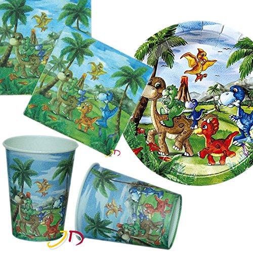 Kit de fête 32 pièces « Dinosaure » avec assiettes, gobelets, serviettes et décorations - Pour anniversaire d'enfant