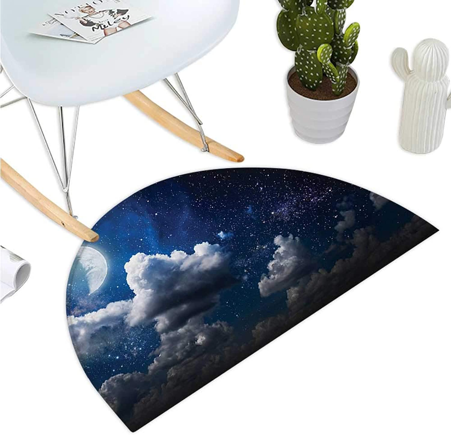 Clouds Half Round Door mats Celestial Solar Night Scene Stars Moon and Clouds Heaven Place in Cosmos Theme Bathroom Mat H 43.3  xD 64.9  Dark bluee White