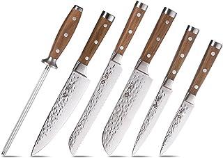 BGT 6 Pièces Set Couteau Cuisine Japonais Damas, Set de Couteaux de Cuisine Japonais Damas, VG10 Couteaux de Cuisine Profe...
