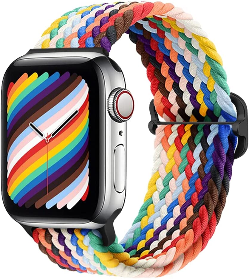 Qimela Stretchy Nylon Solo Loop Bands Compatible with Apple Watch Band 45mm 44mm 42mm 41mm 40mm 38mm, Adjustable Elastic Braided Sport Wristbands for iWatch Series 7 6 5 4 3 2 1 SE Strap for Women Men