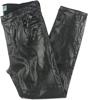 Womens Sophie Coated Mid-Rise Cropped Jeans Black 31