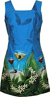 Floating Martini New Print Women's Cotton A Line Short Tank Dress in Blue - XS