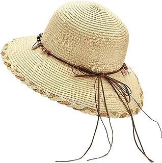 PRAMY Exing Cappello da sole in paglia intrecciata da donna Boho Beaded Shell Nappe Bowknot Berretto da spiaggia a tesa la...