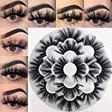 Mikiwi 25mm Faux Mink Lashes, 6D lashes, Faux Mink Eyelashes, Dramatic Lashes, 7 Pairs Fluffy Mink Lashes, 25 mm Lashes for Halloween Party