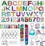 YFWUQI Molde Silicona Resina Epoxi Transparente Letras Números, Moldes para Resina para Fundición con Lentejuelas, Molde de Resina Epoxi para llaveros Collares Número de Casa Manualidades