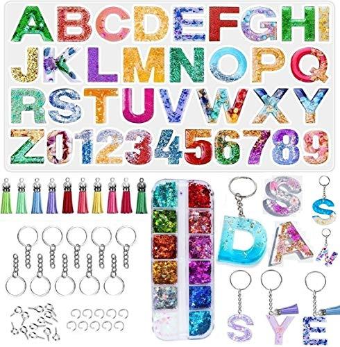YFWUQI Molde Silicona Resina Epoxi Transparente Letras Números, Moldes para Resina para...