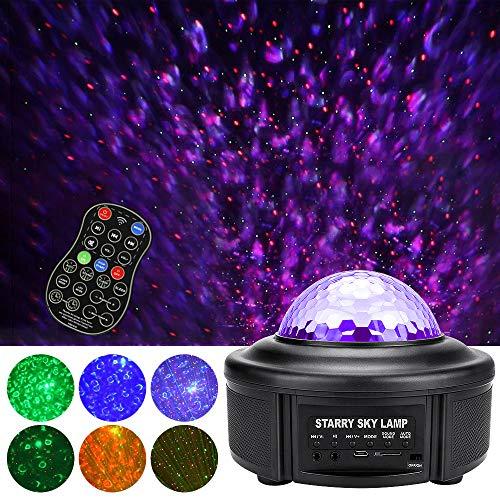 Powcan 3-en-1 Proyector de luz de noche estrellada Ocean Wave Proyector de luz con altavoz Bluetooth Estrella LED Proyector de luces Christmas Sky Music Light Show Control remoto