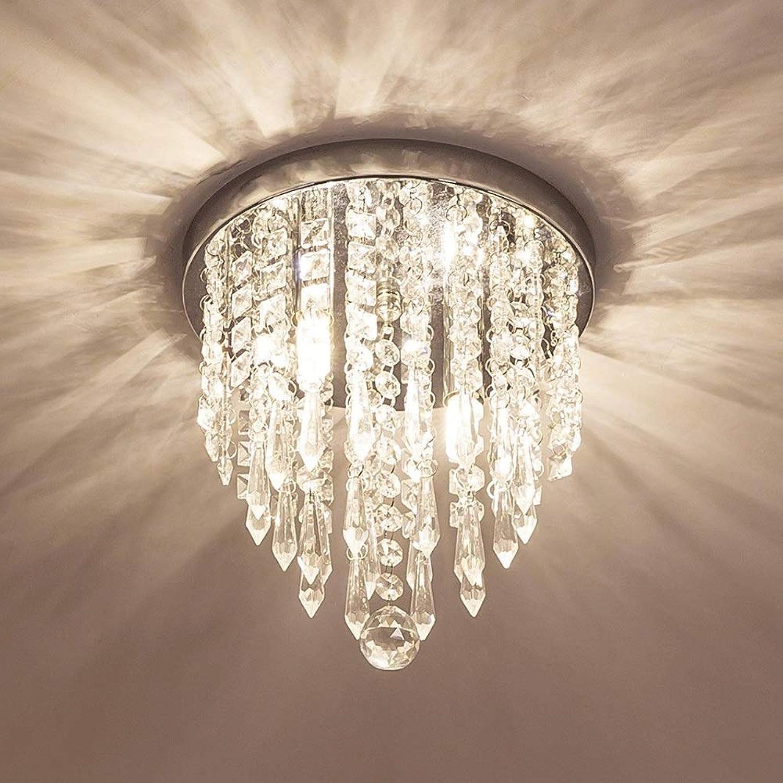 Einfache Mini Deckenleuchte, K9 Kristallleuchter Beleuchtung, 2 Lichter Indoor Unterputz Deckenleuchte, H10.4 '' X W8.66 '' Moderne kreative Kronleuchter Leuchte für Schlafzimmer Flur Küche Badezimmer