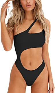 Susupeng Women's One Shoulder Hollow Out Bikini Fitness One Piece Sexy Swimsuit High Cut Bathing Suit