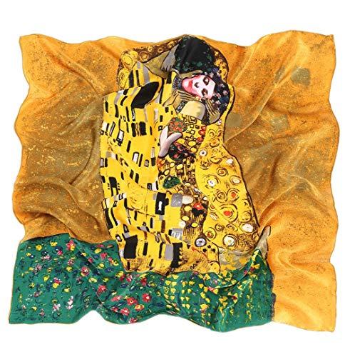 Prettystern prettystern P582 90cm quadratisch großes Hals-Tuch Kunst-Druck Jugendstil 100% Seide Tuch - Gustav Klimt - Der Kuss/Braun