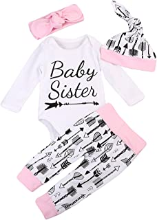 Baby Boy Girl 4PCS Outfits Set Little Sister Cartoon Romper Tops Long Pants Hat Headband Cotton Clothes