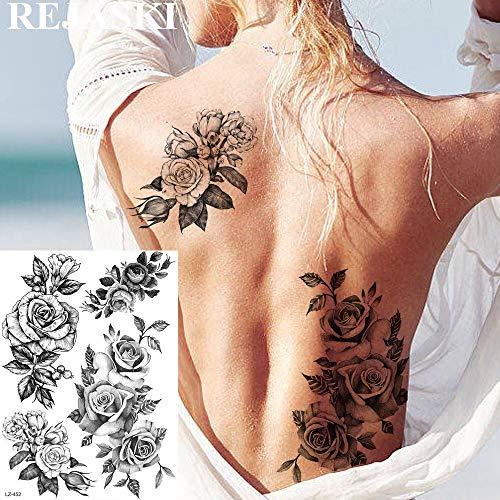 tzxdbh 2 Pcs Grand Rose Fleur Tatouages Temporaires pour Les Femmes Autocollant Gloire du Matin Plume De Tatouage Art Bras Imperméable Tatouages