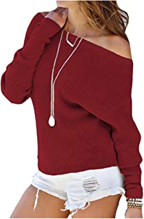 Yuan Kun Women Batwing Sleeve Off Shoulder Knitted Sweaters Casual Long Sleeve Jumper Pullovers Pull