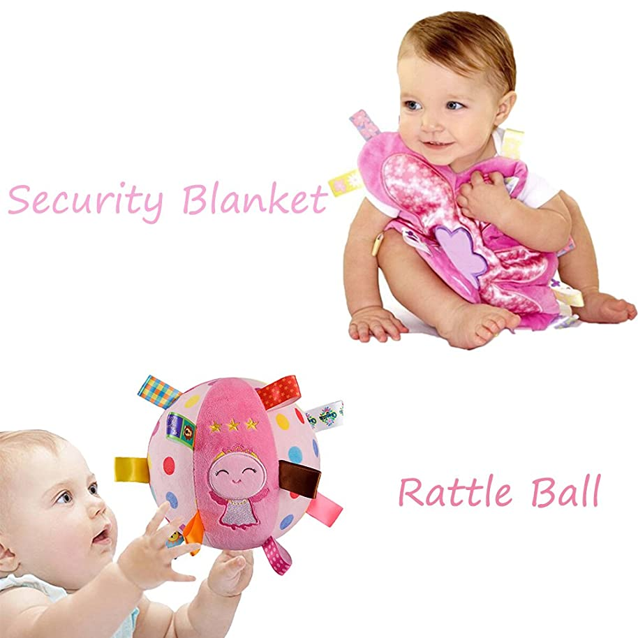 INCHANT Soft Stuffed Rattle Ball Toy With Taggies Comfort Security Blanket - Gift Set For Baby Girl, Pink Flower Security Blankie, Cute Angel Plush Ball For Toddlers And Kids