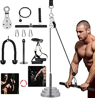 3in1 Pulley Cable, Home Cable Pulley System, Fitness Pulley System,Gym Equipment for Home, with Straight Bar, Band Handles Grips, Nylon Tricep Rope, 3parts Acessories Exchange Use for Home Gym