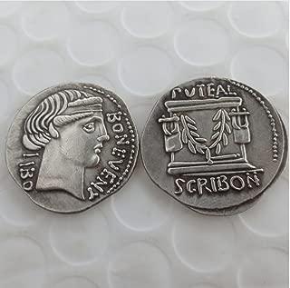 Rare Antique Ancient RM08 Julius Caesar 62 BC 8 Roman 1 Denarius Silver Color Coin