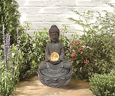 MP Essentials Garden & Outdoor Solar Buddha Water Feature Fountain with Light Ball from MP Essentials