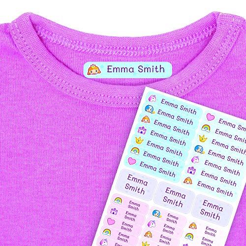 Etichette termoadesive personalizzate con il tuo testo | Etichette per abbigliamento, con disegni di fantasia e testo personalizzato. 40 U. in foglio laminato FUNNY FANTASY