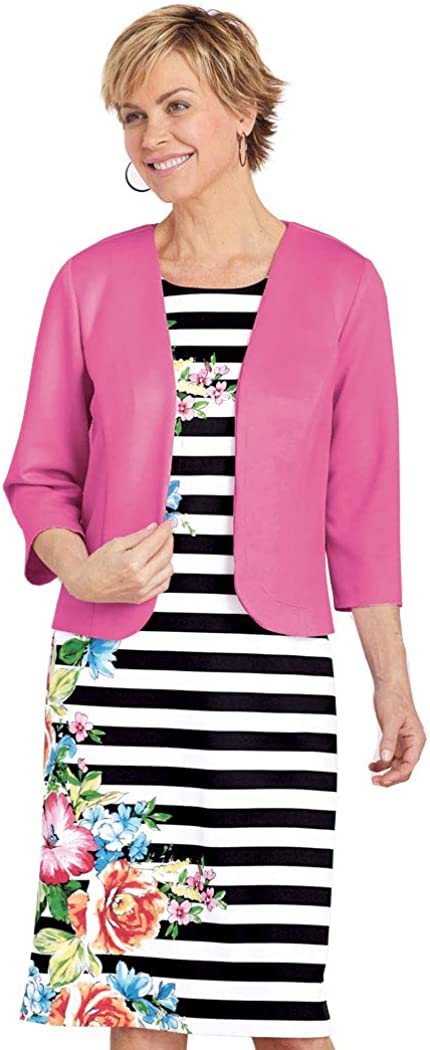 AmeriMark Women's Two Piece Dress Set Jacket and Sleeveless Striped Flower Dress One Color