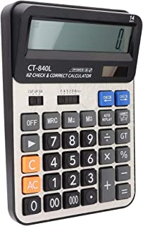 Solar Calculator, Dual Power Drive bekväm 14 siffror miniräknare, tålig mjuk för dagliga och grundläggande kontor(black)