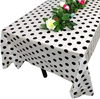 Z-Point Polka Dot Plastic Tablecloth Waterproof Rectangle Spill-Proof Table Cover for Wedding Banquet Party Decoration (White)