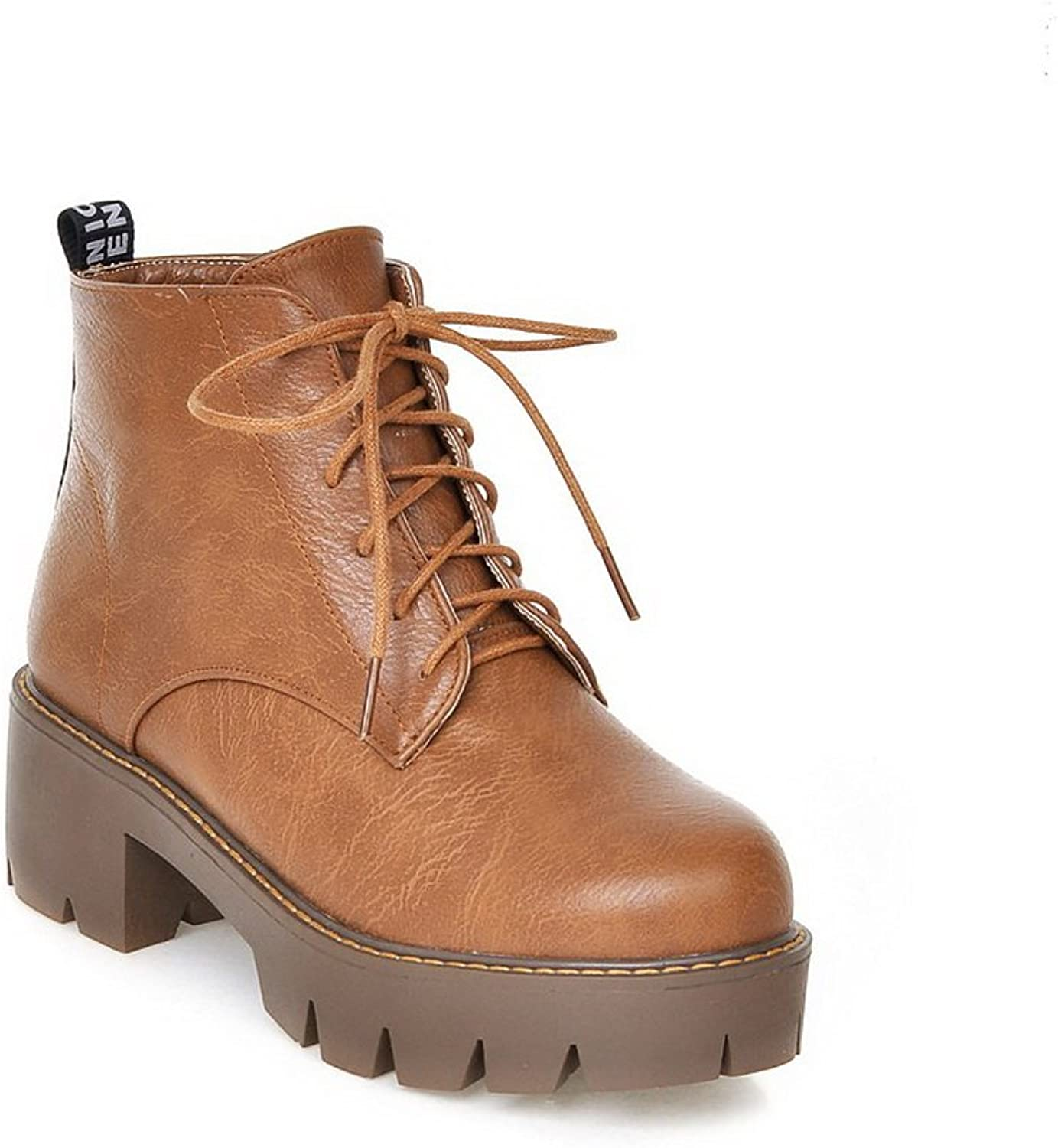AdeeSu Girls Lace-Up Solid Outdoor Imitated Leather Boots