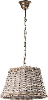 ONLI Lámpara de techo cesta de tipo ratán, beige y bronce