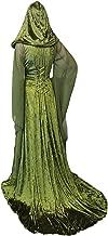 Mesodyn Women's Medieval Lace-up Vintage Hooded Cloak Robe Adult Costume Retro Cosplay Long Dress