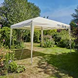 Home Source Pop Up Gazebo 3m x 3m Outdoor Garden Marquee Tent Easy Up Beige With Carry Bag