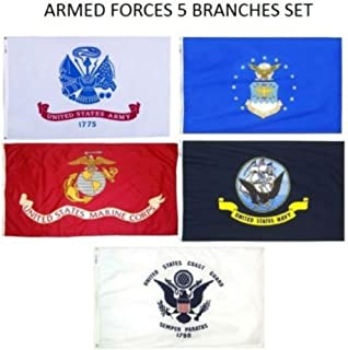 Wholesale Lot 5 Branches Military Set Armed Forces EGA Marines Navy Air Force Coast Guard Army 2x3 2'x3' Flags Premium Quality Polyester Fade Resistant Durable Double Stitched Fly End