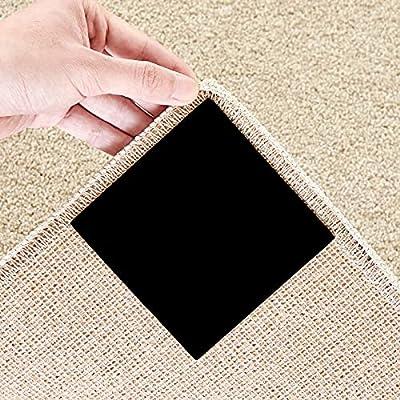 Beautysaid Rug Gripper 4PCS Non Slip Corner and Side Grippers Corner Carpet Anti Curling Reusable Rug Pad Square