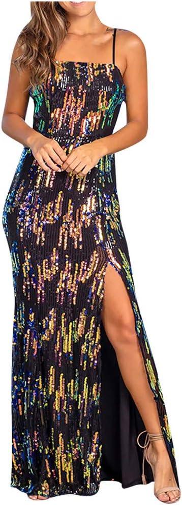 YOMXL Women Shining Sequins Strap Sleeveless Slim Fork-opening Split Evening Dress(Green,M)