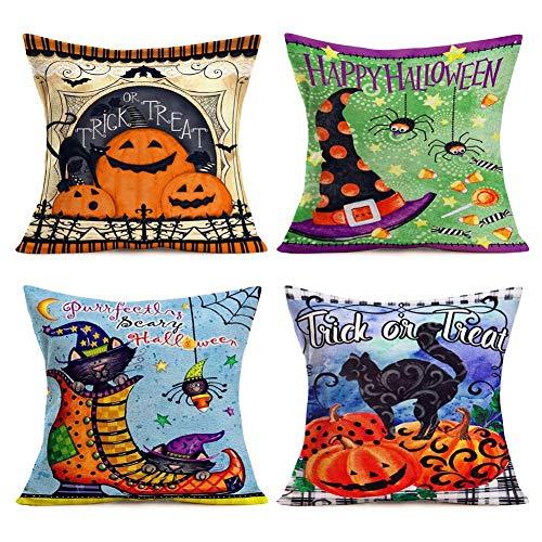 WXM Funda de almohada para disfraz de gato de Halloween (multicolor)