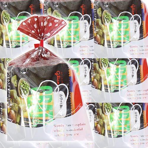 ハート柄袋 ミニおつまみおせんべい菓子袋詰め 60コセット 駄菓子 詰め合わせ おかしのマーチ