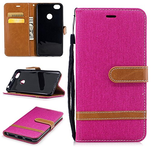 zl one Funda Xiaomi Redmi Note 5A,Bookstyle Denim PU Cuero Cartera para TPU Silicone Case Cover (Rosa)