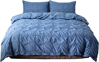 Craftwitter 3 Pieces Solid Color Bedding Set King Comforter Cover with Zipper Closure and Corner Ties Duvet Cover and Pillow Shams US-Full Blue