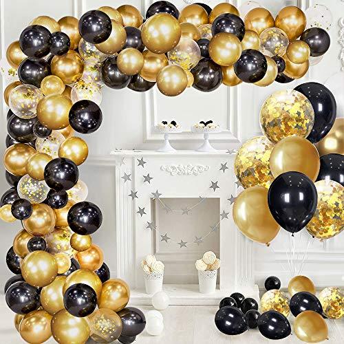 specool Palloncini Oro e Nero, Agate Palloncini Oro con Oro Confetti Palloncino per Le Donne Compleanno Decorazione degli Uomini Laurea Festa di Halloween