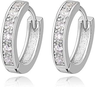 Oro Blanco Chapado Aretes con Diamante con Zirconia Cúbica