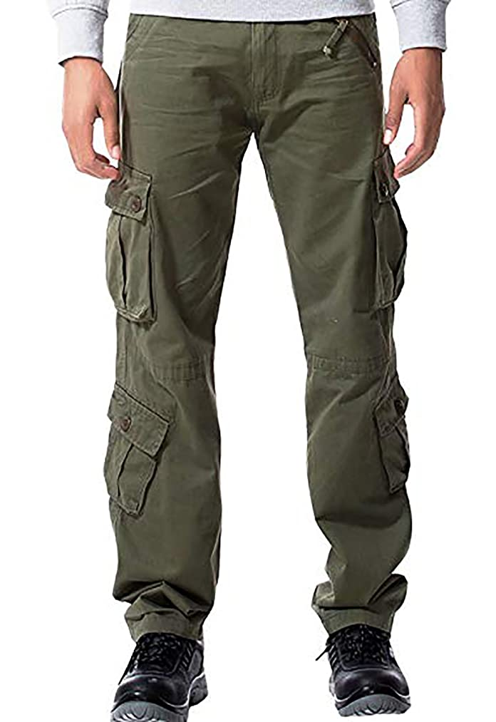 MAGE MALE Men's Cargo Work Pants Tactical Cotton Casual Combat Military Trousers with 8 Pocket