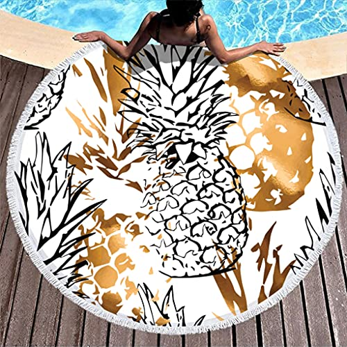 Ktewqmp Toalla de playa redonda con frutos de piña, toalla de playa para mujer, resistente al calor, color blanco, 150 cm