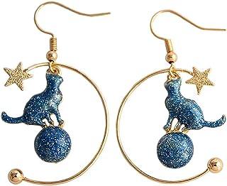 Eiffy Cartoon Blue Round Planet Moon Star Kitty Cat Earrings for Women Pet Animal Drop Earrings Jewelry