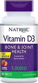 Natrol Vitamin D3 Fast Dissolve 5000 IU Capsules. Strawberry. 90 Count